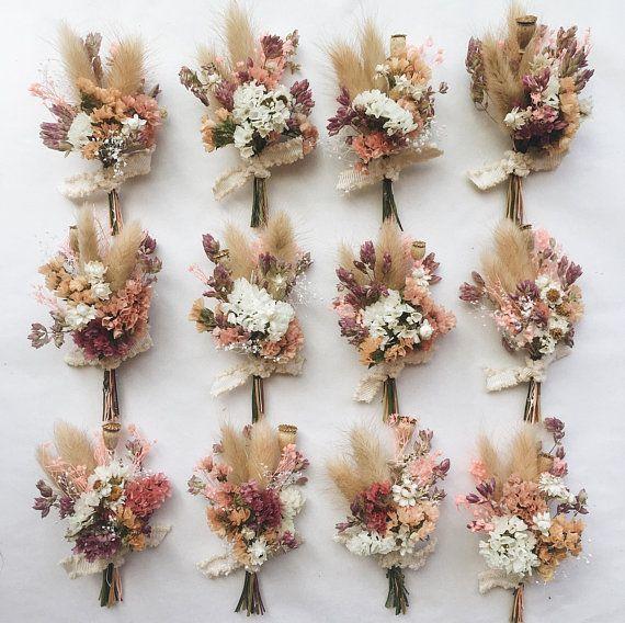 Pfirsich & Plume Boutonniere / / getrocknete Blume Boutonniere