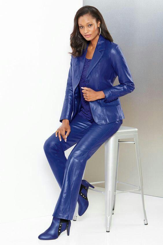 922a186d13e95 Blue leather pants and jacket ensemble | Női bőr divat | Leather ...