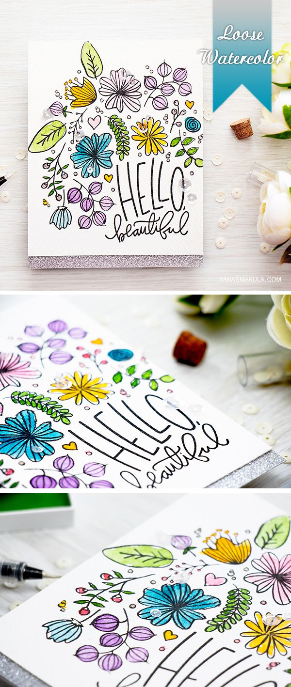 Loose Watercolor card with floral stamps. Details here http://www.yanasmakula.com/?p=53583