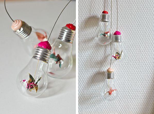Origami lightbulb suspension