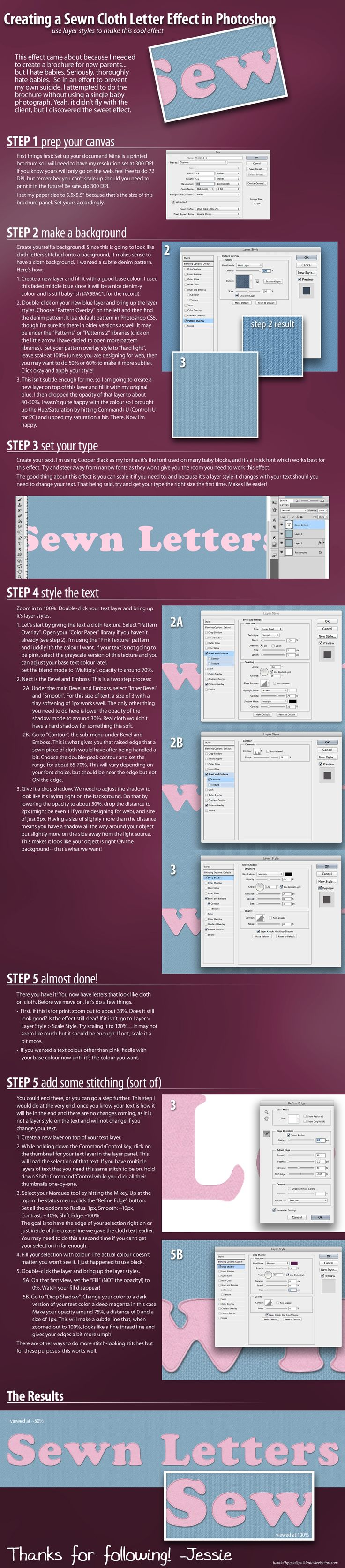 Again >> Creating a Sewn Cloth Letter Effect in Photoshop by GoaliGrlTilDeath.deviantart.com | drawing ...