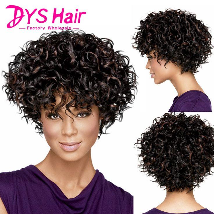 ホット短い黒いかつら変態カーリー合成かつら用ブラック女性ナチュラル安い髪かつら前髪とpelucas baratas熱耐性