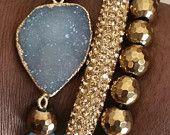 Golden Skies gemstone stacked beaded stretch cuff bracelet