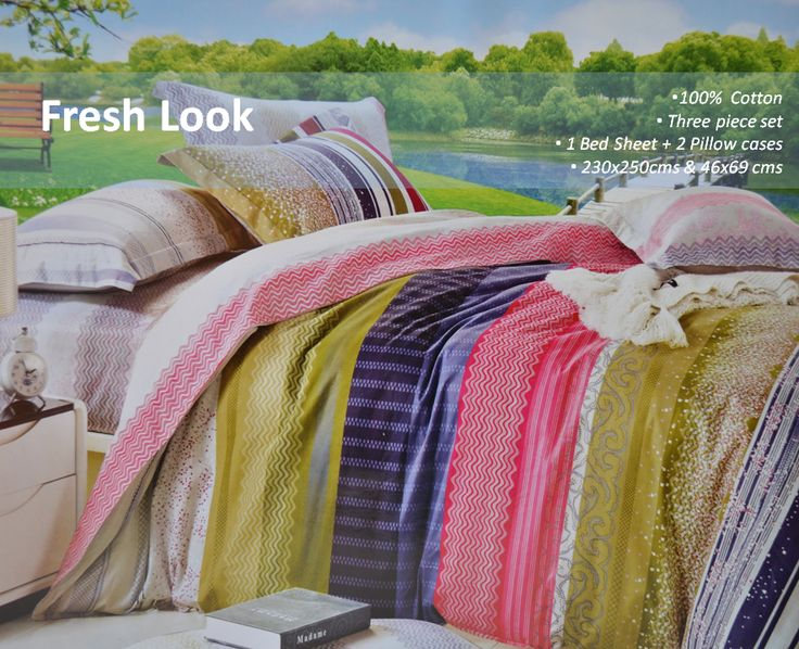 the bed sheet vertically striped in multi colors rejuvenates the bedroom decor - Multi Bedroom Decor