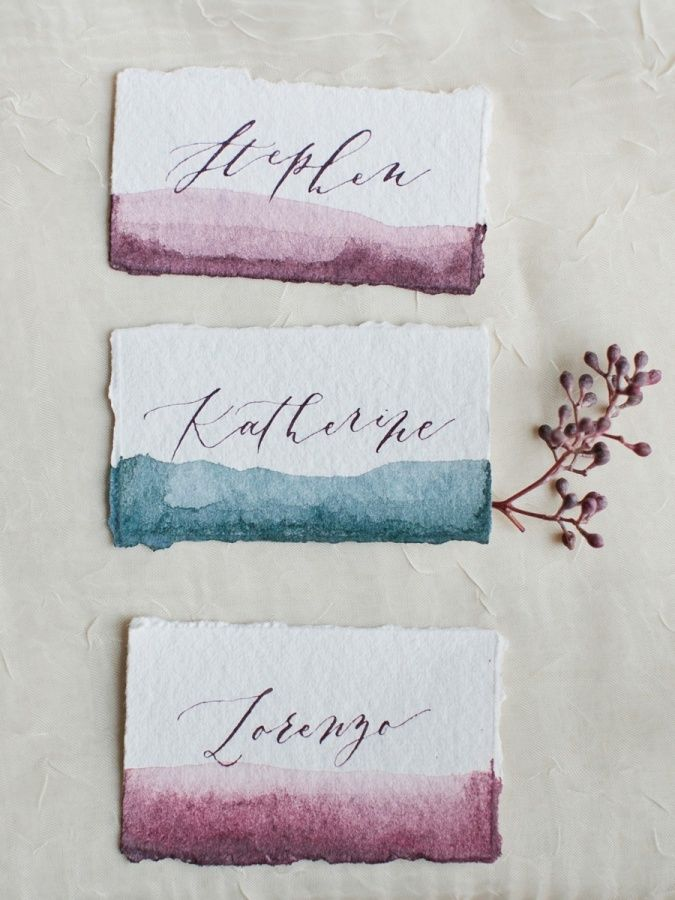 Jewel tone water color place cards: http://www.stylemepretty.com/little-black-book-blog/2015/11/25/autumn-orchard-wedding-inspiration/ | Photography: Callie Hobbs - http://calliehobbsphotography.com/
