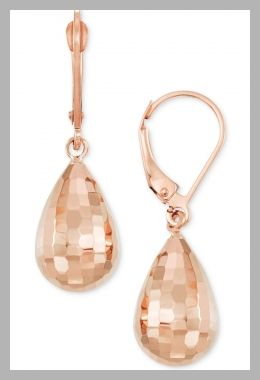 Macys- Textured Teardrop Drop Earrings in 14k Rose Gold - Price History