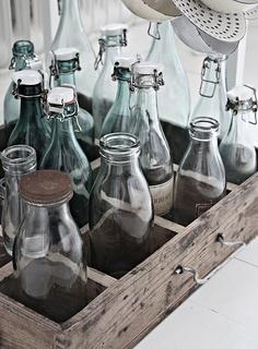 Old bottles in a vintage crate