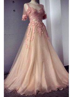 lange Abendkleider Ballkleider perlen rosa