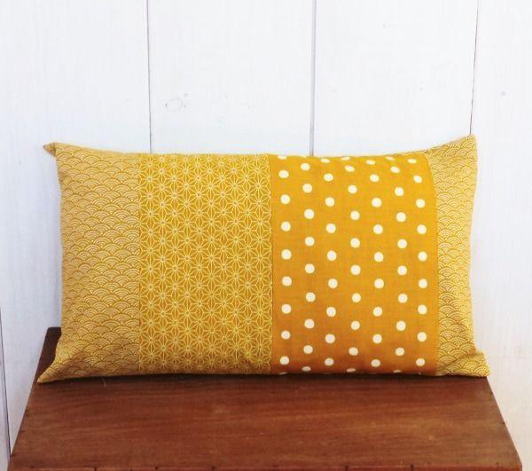 housse de coussin patchwork 30x50 cm tissu motif vagues et. Black Bedroom Furniture Sets. Home Design Ideas
