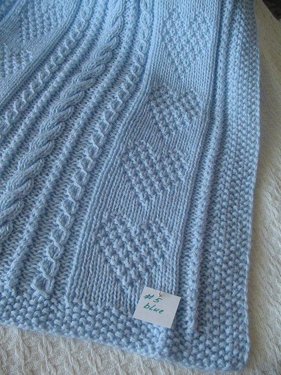 Baby Blanket 5 coperta del bambino blu Handknit di Ednascloset