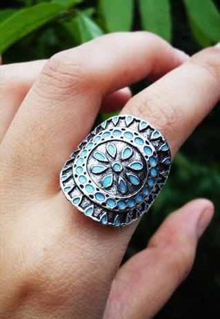 rustic ethnic ring