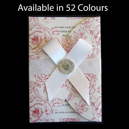 DIY Wedding Invitation Rounded Gatefold Peonies Pattern Diamante Cluster 10