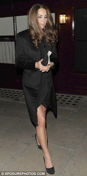 Kate Middleton wears a coat and dress to London's Loulou club on 10/11/12. The dress is possibly the Temperley Simonette. Accented with black suede clutch and pumps.