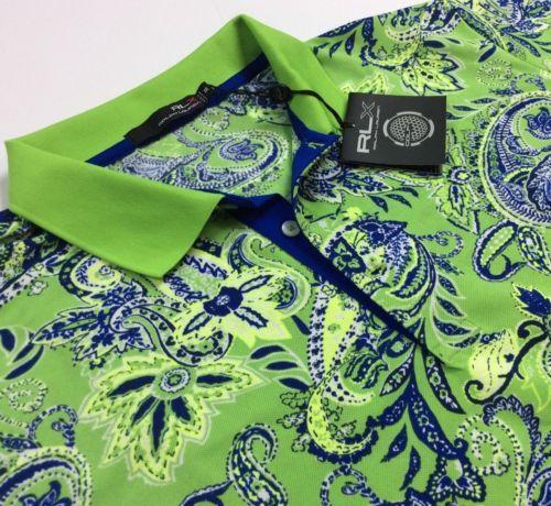 RLX-Golf-Ralph-Lauren-Men-Lime-Vtg-Paisley-Polyester-Stretch-Sport-Polo-Shirts