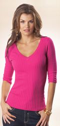 Ribbed V-Neck | Tall Women's Clothes, Ladies Clothing & Apparel by Long Elegant Legs