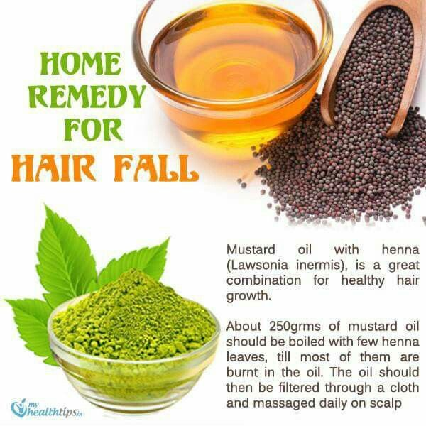 Henna and mustard oil for hair fall treatment