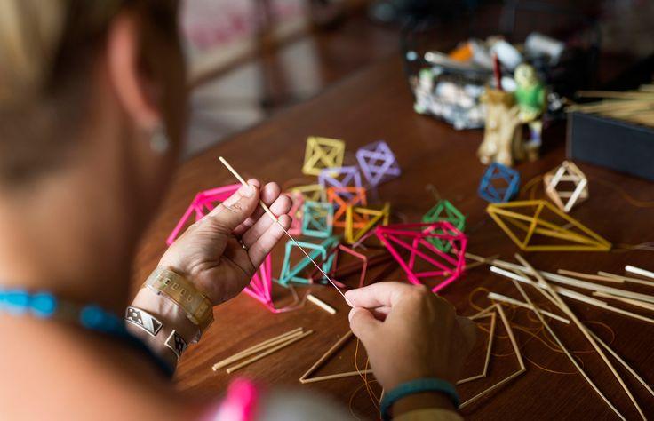 Katrina Johnson working on her 'Himmeli' mobiles. Photo – Mindi Cooke for The Design Files.