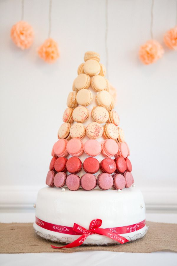 A macaron wedding cake is such a cute idea!