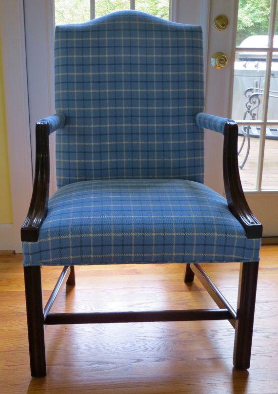 Hickory Chair Plaid Martha Washington Chair By