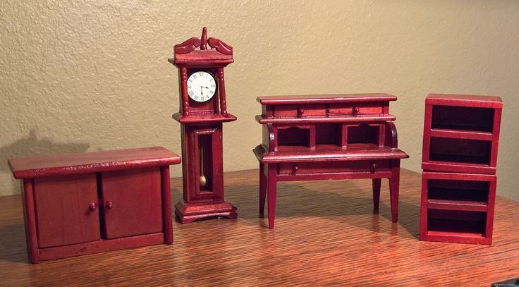 New Vintage Cherry Dollhouse Den Library Study Furniture Set Grandfather Clock #Unbranded