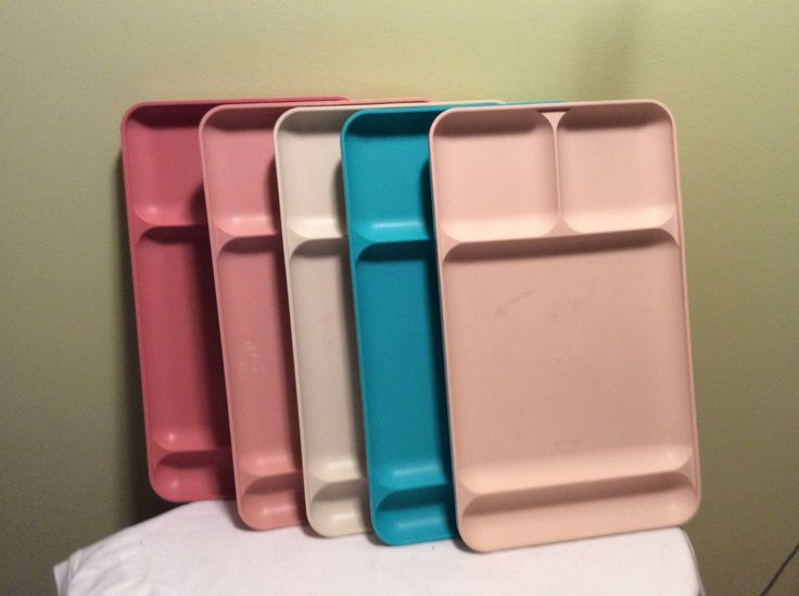 Vintage Set of Five Tupperware Colorful Lunch Trays School Cafeteria Arts and Crafts Pink Tan Blue Large Seperated Plastic Tray by TheLittlePenguinShop on Etsy https://www.etsy.com/listing/503946374/vintage-set-of-five-tupperware-colorful