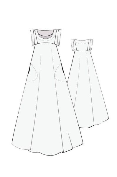 Celestial maxi dress, Linen, sewing pattern, pattern fantastique.