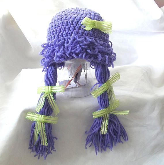 Crochet Baby Hat Girl Wig Pigtails Novelty Hat Cabbage Patch