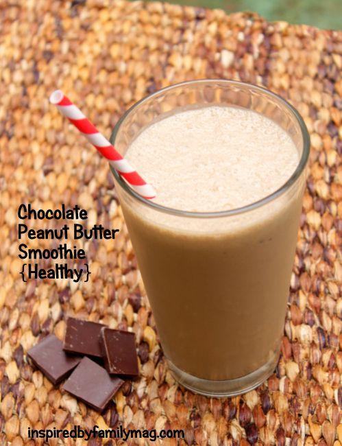 Chocolate Peanut Butter Smoothie and more healthy peanut butter smoothie recipes on MyNaturalFamily.com #smoothie #recipe