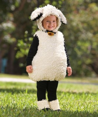 "little lamb baby costume - With a ""baa baa"" here, and an ""awww"" there. Your cute little lamb frolics in an embellished bodysuit with decorative bell, separate hood and hooves."