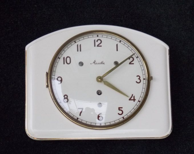 Ceramic clock, Mauthe wall clock, Art Deco wall clock, mechanical wall clock, white clock, retro clock, wall decor, unique, kitchen decor