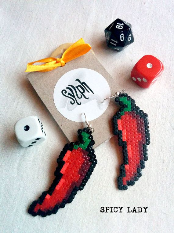 Pixelated hot stuff chili pepper Spicy Lady pixel earrings for gamer girls with a bit of attitude made of Hama Mini Perler Beads