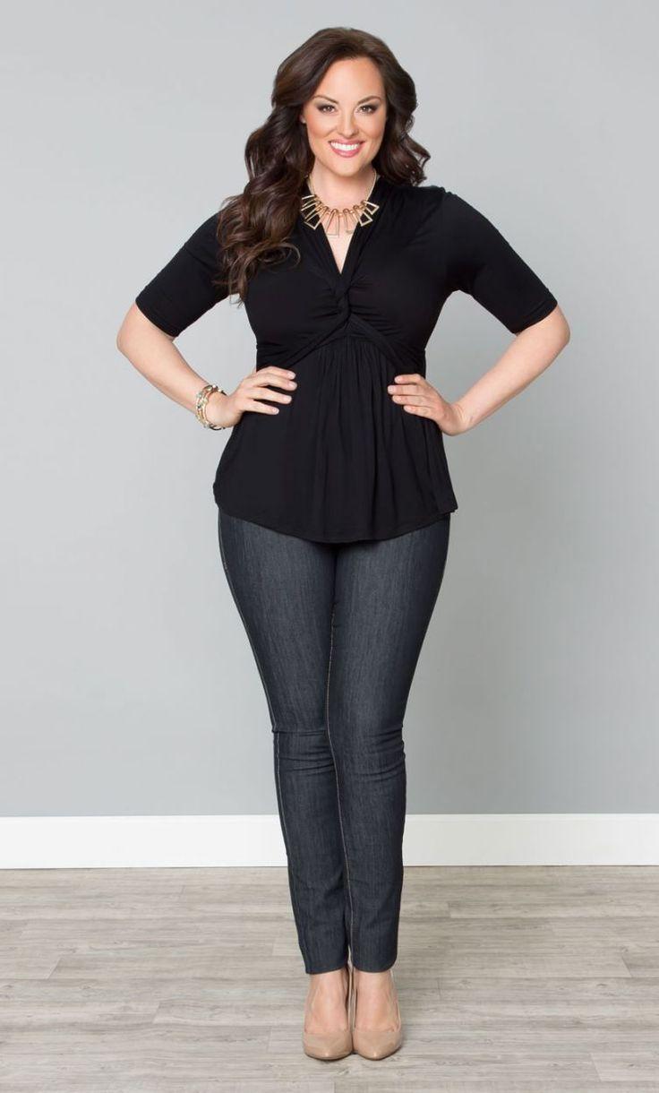 Curvalicious Clothes::Plus Size Tops::Caycee Twist Top - Black Noir