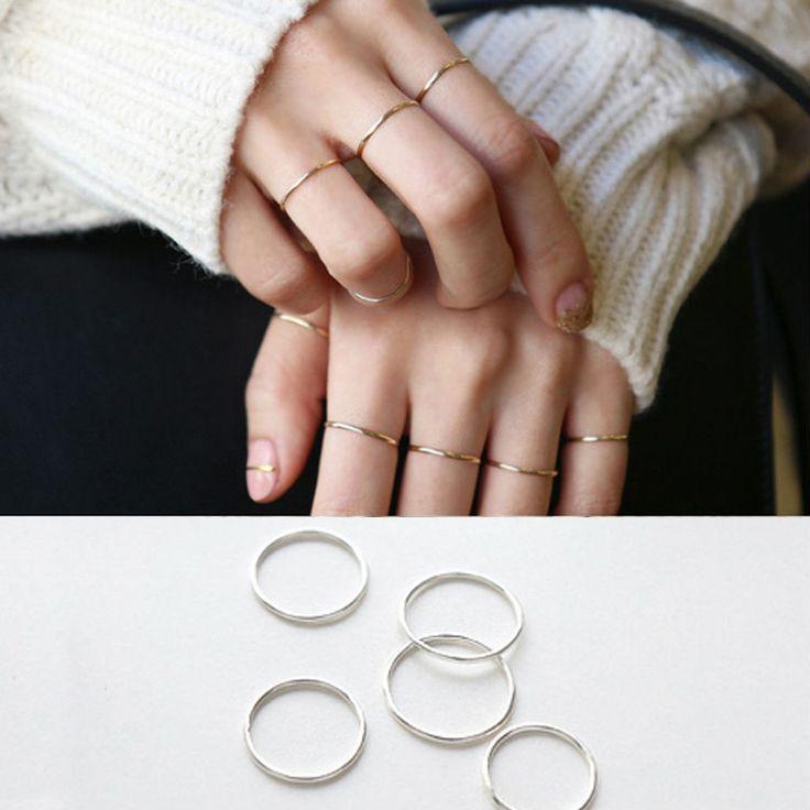 Plata de Ley 925 Anillo de La Manera Simple Suave Fina Anillo Fino dedo Meñique Anillo de Joyería De Las Mujeres
