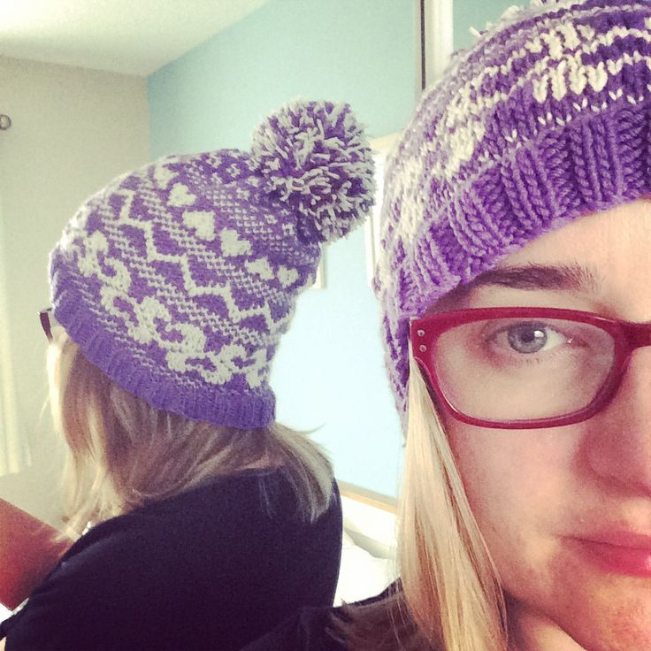 Purple and cream bobble hat