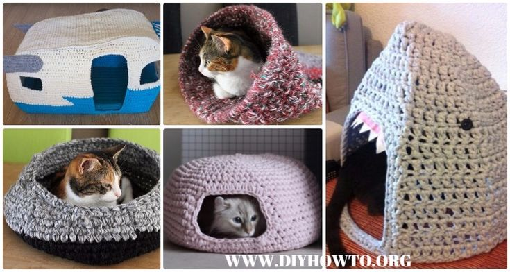 Crochet Cat House & Nest Bed Patterns: Crochet Pet Bed, Pet House, Cat Bed, Cat Cave, Nest Ped, handmade cat little dog pet supply