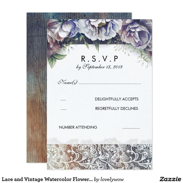 Lace and Vintage Watercolor Flowers RSVP Card Rustic, vintage floral wedding reply cards with lace