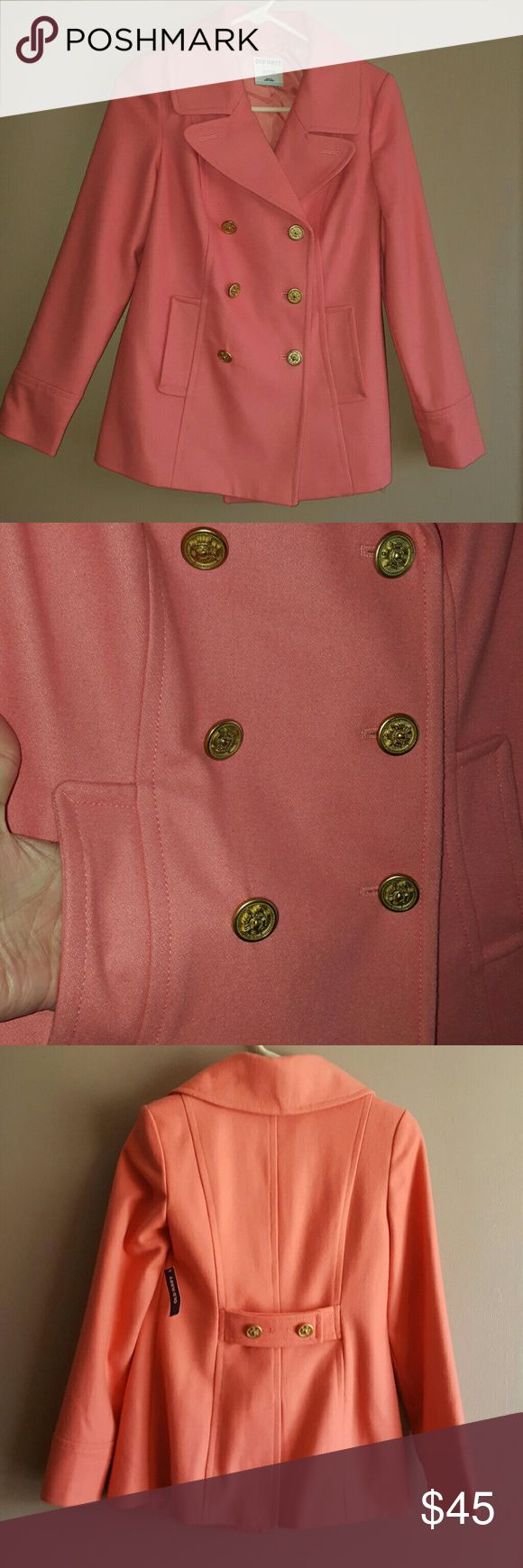 Old Navy coral pea coat (XS) New with tags. Old Navy pea coat, size XS, color is a gorgeous coral hue. Functional pockets. Bronze colored buttons on the front for closure & two decorative ones on the back. Sleeves : 23.5 inches / Bust : 25 inches buttoned / Length : from the shoulder - 24 inches. Old Navy Jackets & Coats Pea Coats