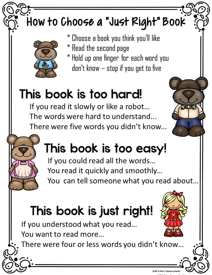 FREE Just Right Book poster The color version of this Just Right Books poster can be displayed in classroom or library as a reminder to students when choosing books for independent reading.   The line art version of Just Right Books is great for including in student reading or library folders. They can also be sent home to help parents understand how they should guide their children in book selection.