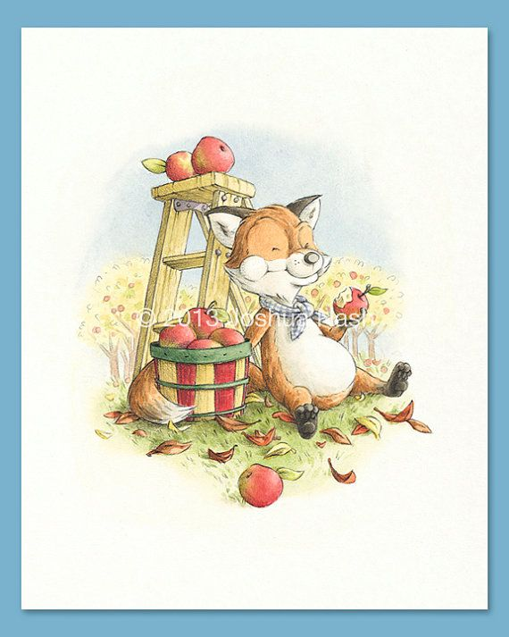 A Fox for all Seasons  A Fox in Autumn 8 x 10 by NashIllustrations, $35.00