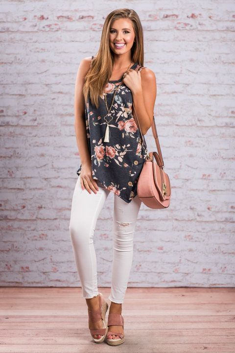 """Easy To Love You Tank, Navy""It sure to love this tank! It has everything we know you love! The floral print is so cute and so perfect for spring! #newarrivals #shopthemint"