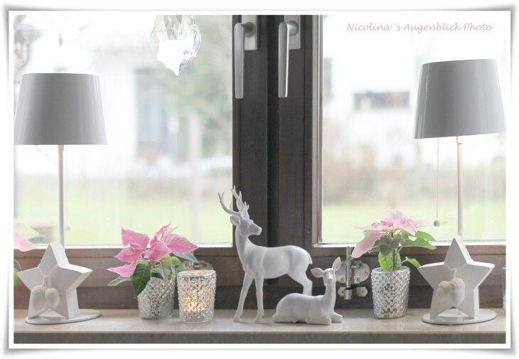 Weihnachten Winter Fensterbank Rosa Weiß Bauer Silber Rosa Rosa Weihnachten …   – Gemütliche Weihnachten