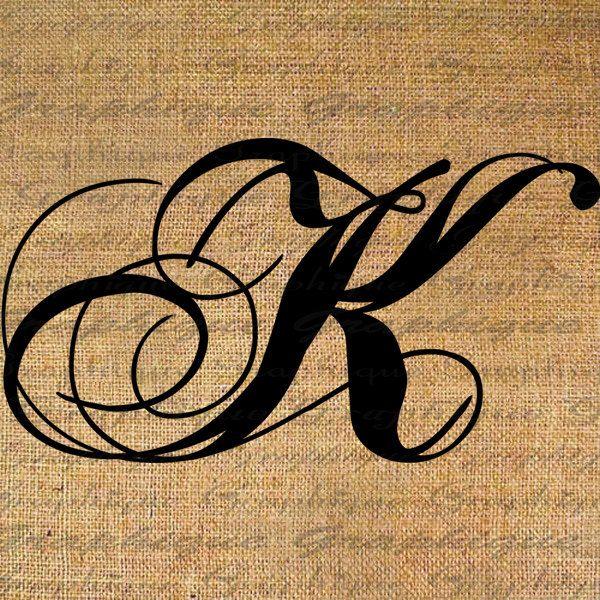 Monogram Initial Letter K Digital Collage Sheet Burlap Digital