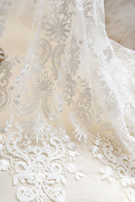 19c01d3d27f Vinateg Style Exquisite Floral Embroidered Lace Fabric