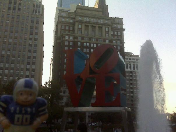 At the Love Statue in Philadelphia.