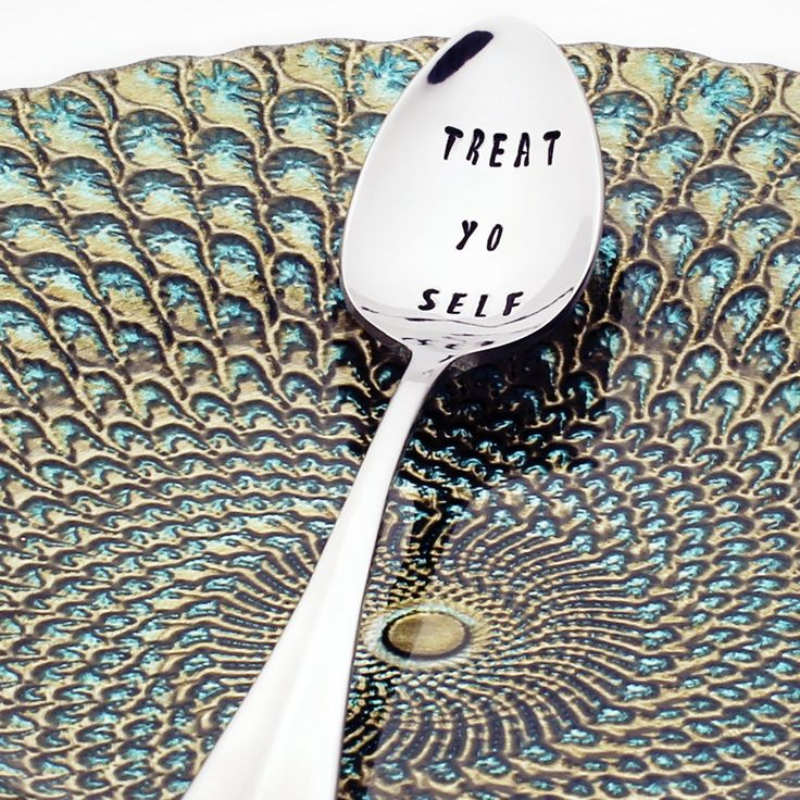 Parks and Recreation Treat Yo Self - Stainless Steel Stamped Spoon (coffee spoon, tea spoon)