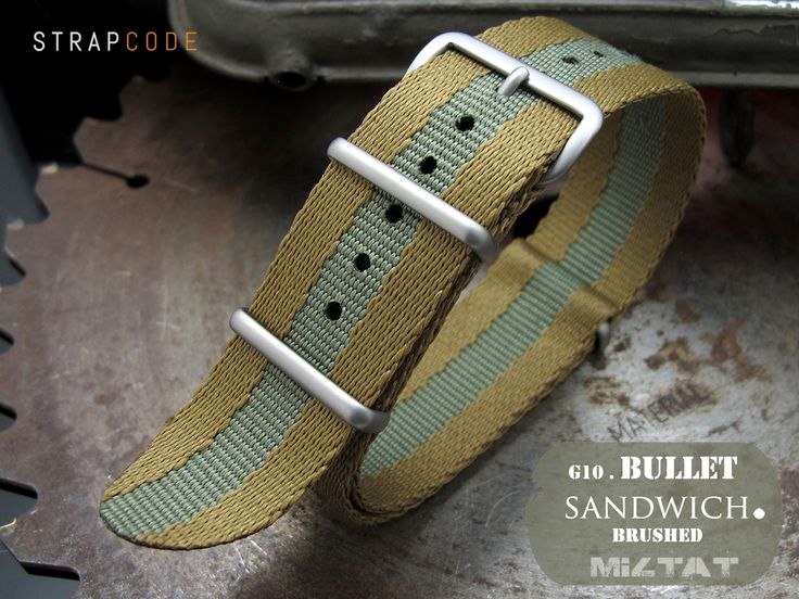 MiLTAT Sandwich G10 Bullet Tail military watch straps use different nylon threads to fabricate sandwich layers The Sandwich woven technique gives the G10 strap an obvious texture that is both visible and touchable New palette of subtle colors strip is tightening up with four 316L stainless steel hardware looks excellent on military or classiclooking dive watches Nylon is cut and simultaneously sealed using ultrasonic knives to prevent fraying Item number  20A20BZZ00N2P49 Brand Name  MiLTAT…