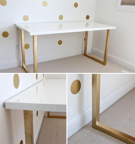 And a gold base makes this white lacquer table from Ikea seem less sterile. The brand used for this project is Rust-oleum Specialty Metallic Gold spray paint, cited as the go-to for the perfect shade of gold that's not too brassy.