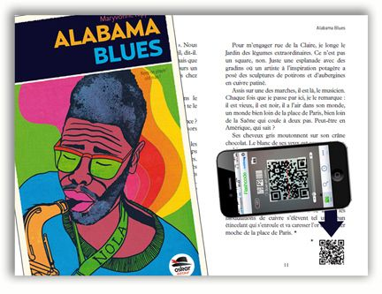 Alabama Blues de Maryvonne Rippert (ed. Oskar). Un roman papier et musical, de QR codes augmenté. Prévoir éventuellement l'acquisition de ce titre
