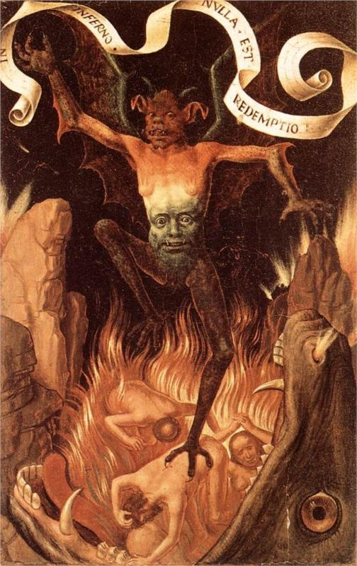 Hans Memling, Hell, 1485 from Triptych of Earthly Vanity and Divine Salvation (front) (c.1485), Oil on oak panel, 22 x 15 cm (each wing), Musée des Beaux-Arts de Strasbourg
