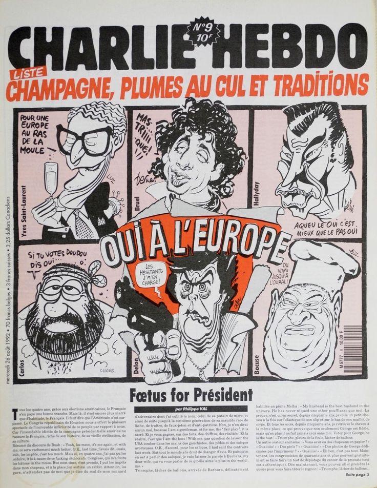 Charlie Hebdo - # 9 - 26 Août 1992 - Couverture : Luz-Bernar-Gébé-Charb-Cabu-Riss